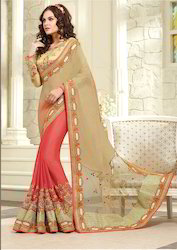 Pure Crepe And Net Saree