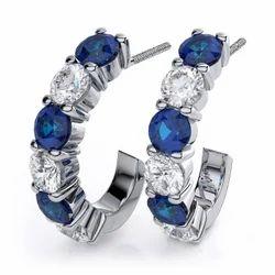 Sheetal Impex 1.50 Tcw VS/FG Round Shape Real Natural Diamonds Stud 14Kt White Gold Gemstone Earring