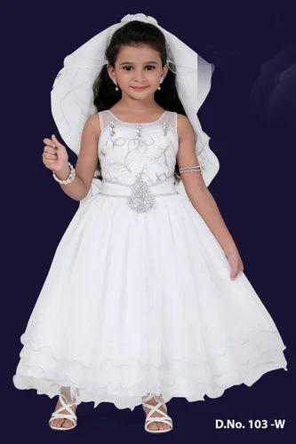 Kids Sleeveless White Long Gown aca11b657