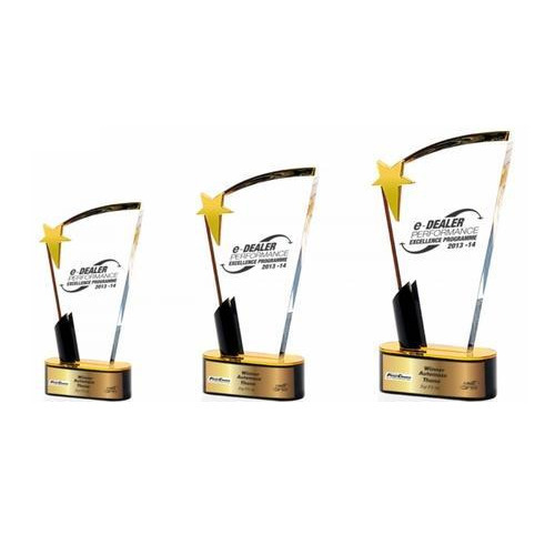 acrylic golden gold plated rich gold trophies rs 450 piece id