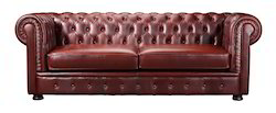 2 Seater Brown Wood Chesterfield Sofa