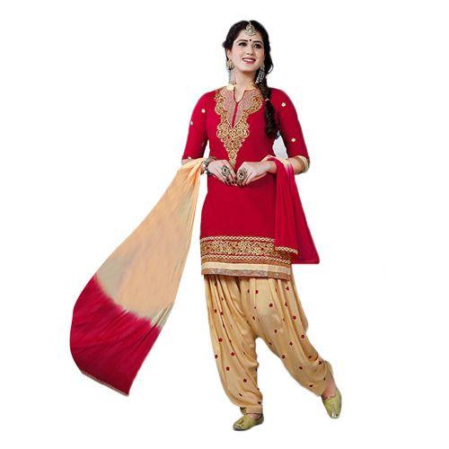 4d5f6cc60f Red and Cream Patiala Suit, Punjabi Salwar Kameez, पटियाला ...