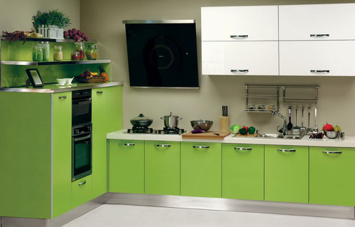Light Green L Shaped Sleek Modular Designs On Home Kitchen Rs 40000