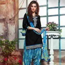 Cotton Black Color Palatial Punjabi Dress