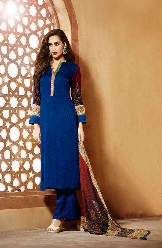 Blue Cotton Wool Blend Jacquard Designer Salwar Kameez At