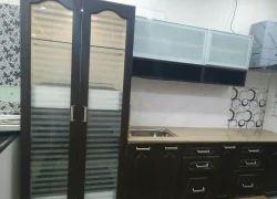 Living Room Interior Italian HDF Profile Modular Kitchen, Work Provided: Wood Work & Furniture