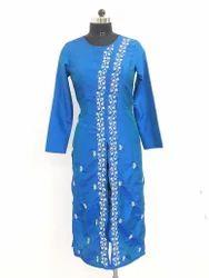 Long Lucknowi Silk Kurti