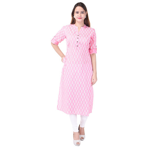 Cotton Baby Pink Color Printed Kurti, Size: S, M & L
