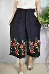 Trendzone Chiffon Black Rayon Embroidery Ladies Palazzo Pant, Waist Size: Multiple Size