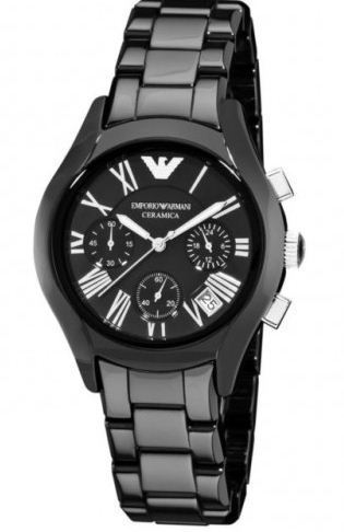 44207f9a5 Armani Ceramic Black Ladies Womens Chronograph Wrist Watch, Armani ...