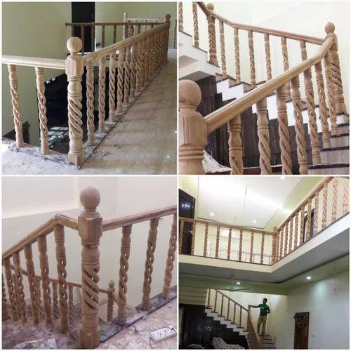 Teakwood Polished Wood Staircase Railings Rs 2500 Feet Mbk