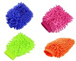 Double Sided Microfiber Cleaning Hand Gloves for Car, Home Use