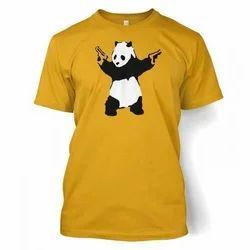 Yellow Round Mens Half Sleeve T Shirt