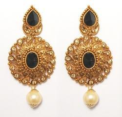 Black Jewelmaze Antique Gold Pearl Drop Earrings