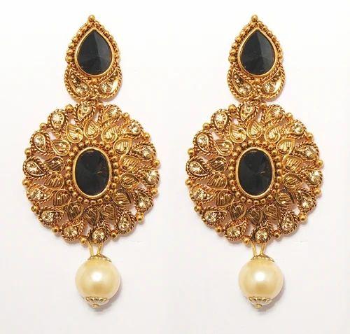 86354a249f7 Black Jewelmaze Antique Gold Pearl Drop Earrings