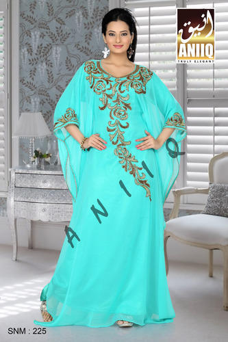 Faux Georgette Sky Blue Fancy Designer Farasha, Size: S to XL