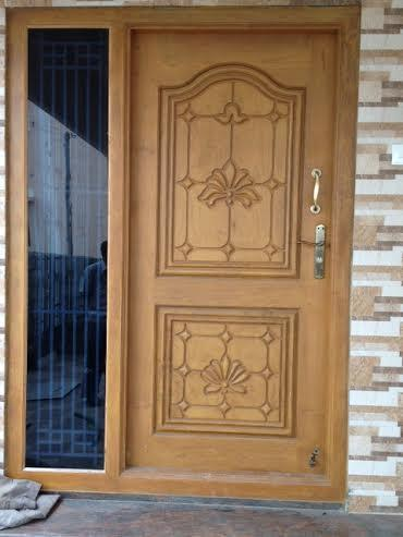 Main door mahogany solid wood front entry door single for Window design tamilnadu