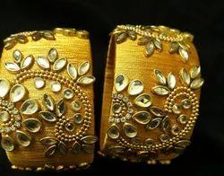 Kundan Golden Silk Thread Kada Set,  Shape: Round