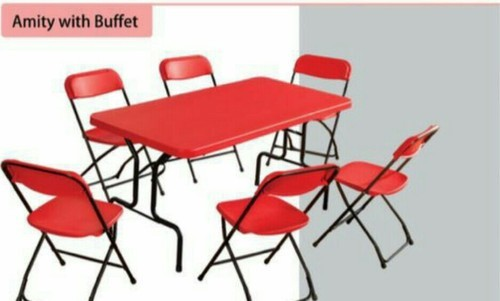 Red Plastic Folding Table With Chairs For Home Size 6x 3 Rs 10000 Set Id 16676664012