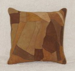 Leather Patch Cushion Cover
