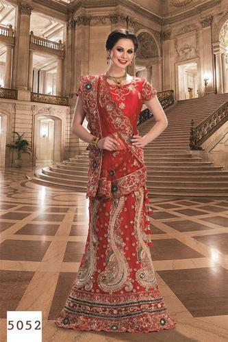 5fe1f03795 Bridal Lehengas - Red Color Bridal Lehenga with Reshan and Zari Hand ...
