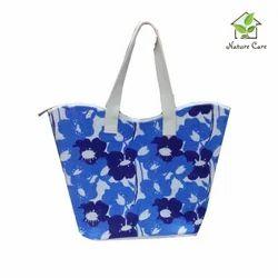 Blue Printed Jute Beach Bags