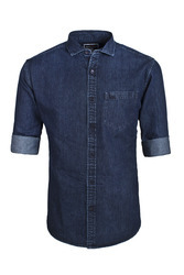 Men Medium Plain Denim Shirt