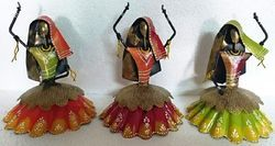 Hand Painted Iron Dancing Dolls Set Of 3