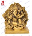 Ganesh Sitting in Leaf Sq. Base Statue