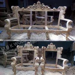 MBK Beige Teak Wood Modern Sofa Set