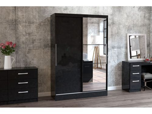 Double Door Sliding Wardrobe With Mirror Two Door