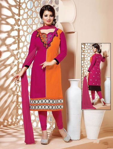 710e69a3c0 Dress Material Crafted On Chanderi Fabric - Orange Color Dress ...