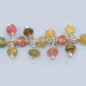 Multi Tourmaline Wire Wrapped Gemstone Dangle Chain