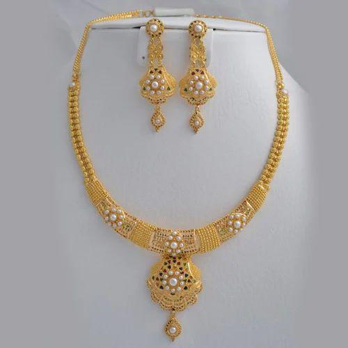 Abhi Jewels 22k Yellow Gold Necklace Set For Women Abhi