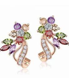 Sparkling Floret Petal AAA Swiss Zircon Multicolor Earrings