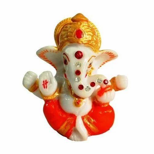 Multicolor Religious God Idol Marble Mukut Ganesh Car Dashboard