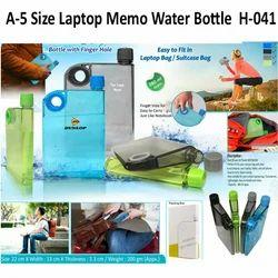 Plastic Blue , White A5 Size Memo Water Bottle, Shape: A5 Notebook Water Bottle