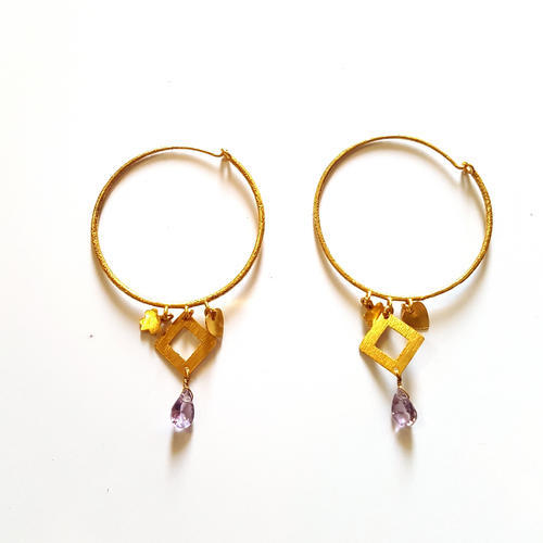 yellow earrings stone amethyst drop gold necklace natural two set