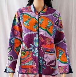 Full Sleeve Party Wear Floral Cotton Kantha Jackets