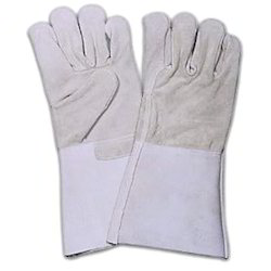 White Leather Hand Gloves, Length: 8-10 Inch