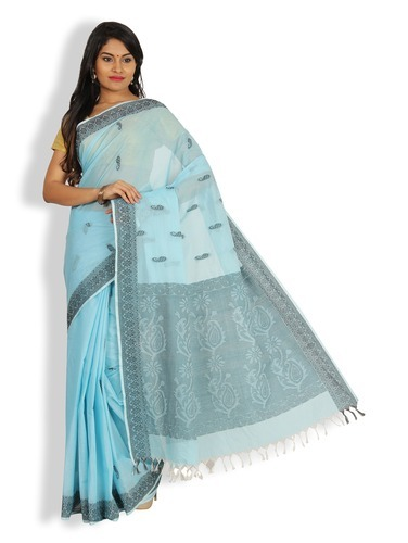 661abf158 Chanderi Cotton Party Wear Platinum Cotton Saree