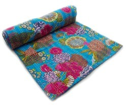 Indian Fruit Print Kantha Quilt