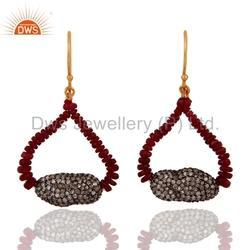 Natural Ruby Beads Diamond Earrings Jewelry
