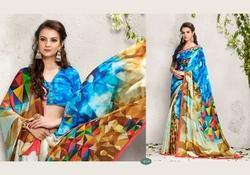 Digital Print Satin Saree