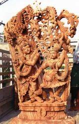 Radha Krishna Wooden Statue 6 Feet