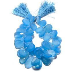 Blue Chalcedony Faceted Pear Briolette Beads