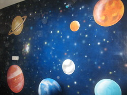 Modern Arts Smooth Galaxy Painting On Ceiling, For Home Decor, Size: 10x10 Feet