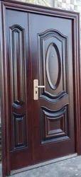 Swing Exterior Wooden Finish Mild Steel Door for Home, Size: 7x3 Feet