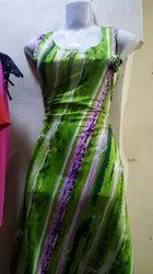 Printed Green Ladies Knee Lank One Piece Dress
