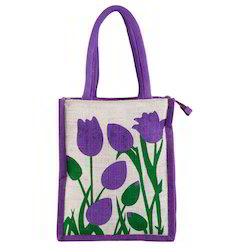 Assorted Colors SBB Floral Jute Lunch Bag